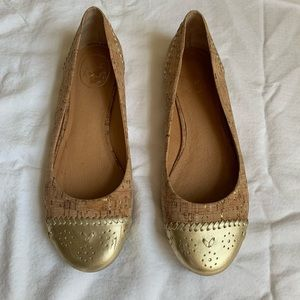 Jack Rogers Cork and Gold Flat